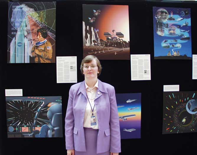 Dawn Jenkins in front of the  Space Exploration ideas traveling exhibit